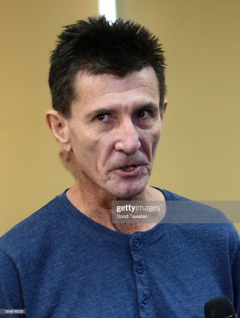 Kidnap victim Warren Rodwell speaks to the media upon his arrival at the Ninoy Aquino International Airport on March 25, 2013 in Manila, Philippines. Rodwell was reportedly released on March 23 after allegedly paying $90,000 USD to secure his safety after being held as a hostage of Islamic militants in the southern Philippines for 15 months.