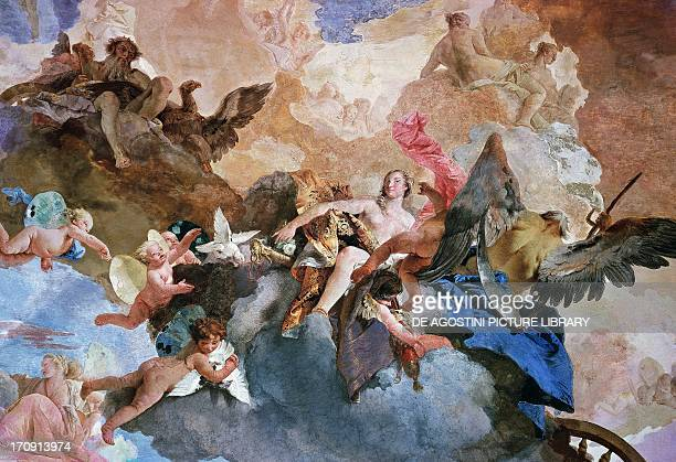Kidnapping of Venus by Kronos detail of the Course of the Sun Chariot fresco by Giambattista Tiepolo Tapestry Gallery Palazzo Clerici Milan Lombardy...