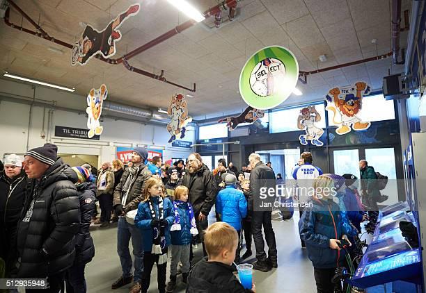 Kids activities prior to the Danish Alka Superliga match between FC Copenhagen and Esbjerg fB at Telia Parken Stadium on February 28 2016 in...