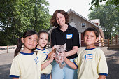 Kids and zoo keeper with chinchilla