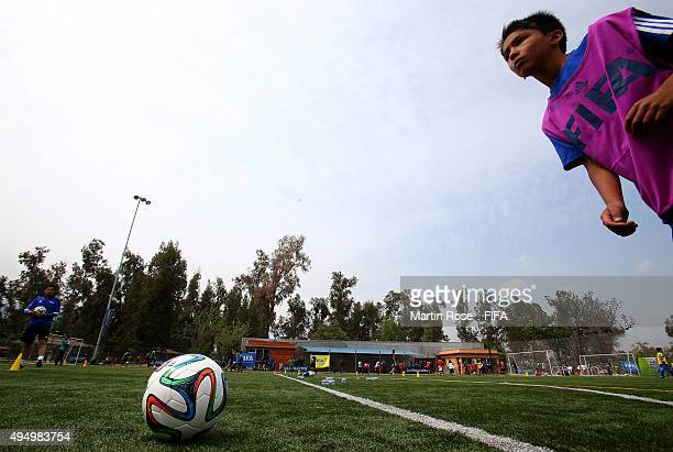 Kids are in action during the FIFA Grassroots Festival at Parque Deportivo de la Caja on October 30 2015 in Santiago Chile