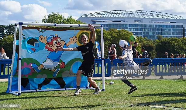Kids are playing during the CPH Playday prior to the Danish Alka Superliga match between FC Copenhagen and AGF Aarhus at Telia Parken Stadium on...