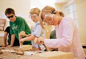 Kids at Wood Carving Workshop
