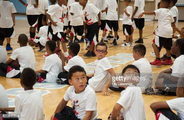 Kids attend the Russell Westbrook 5th Annual Why Not Foundation Basketball Camp at Jesse Owens Community Regional Park on July 25 2017 in Los Angeles...