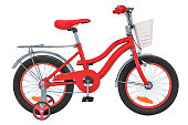 Kids Bicycle with training wheels and basket, red color. 3D rendering isolated on white background