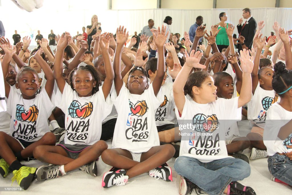 Kids celebrate being at the 2013 NBA Finals Legacy Project as part of the 2013 NBA Finals on June 7, 2013 at the Joe Celestin Center in Miami, Florida.