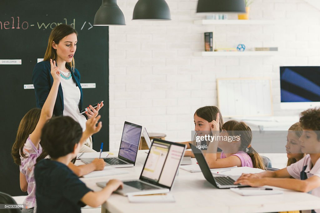 Kids Coding In School : Stock Photo