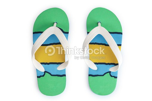 074c48ff8ab2 Kids colorful striped print flip flops isolated on white background   Stock  Photo