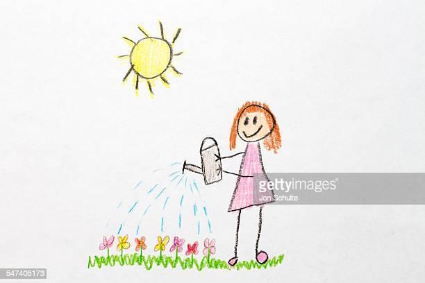 Kids drawing flower watering