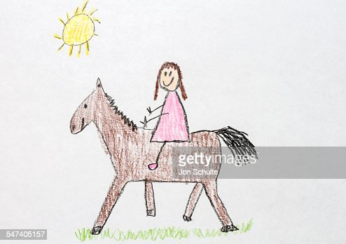 Kids Drawing Girl On Horse Stock Photo Getty Images