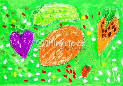 Kids Drawing Kitchen Garden Stock Photo