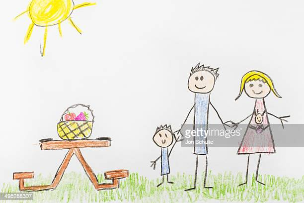 Kids Drawing of Family Picnic