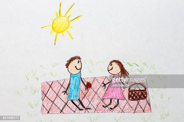 Kids drawing of picnic