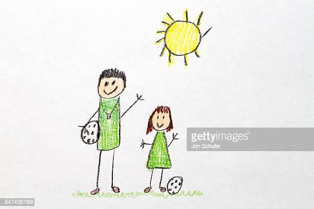 Kids drawing of soccer family