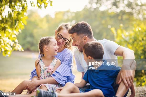Kids enjoy love from their parents