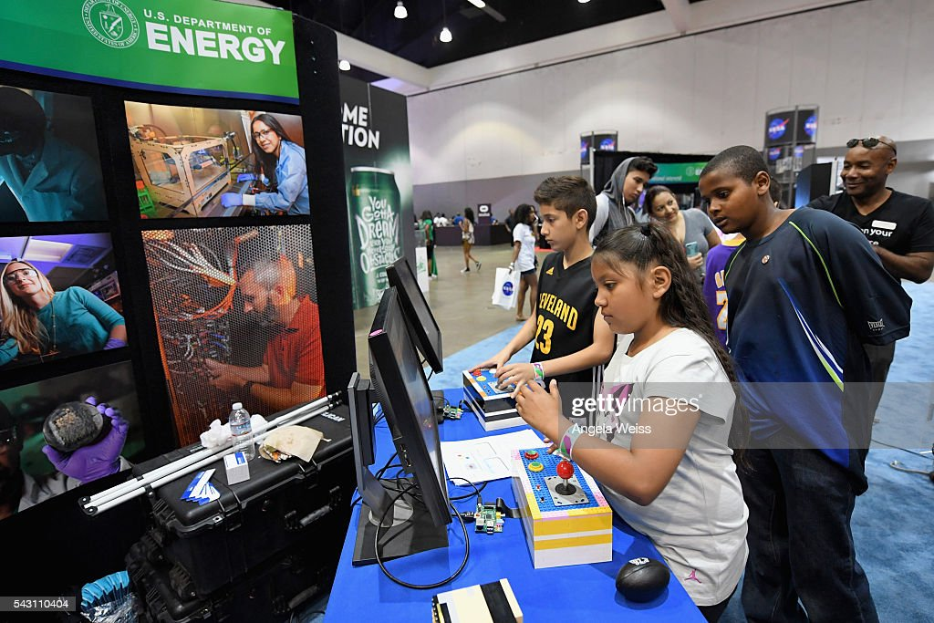 Kids enjoy science exhibits at FAN FEST during the 2016 BET Experience on June 25, 2016 in Los Angeles, California.