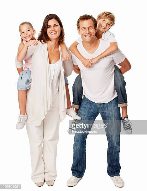 Kids Enjoying Piggyback Rides On Parents - Isolated