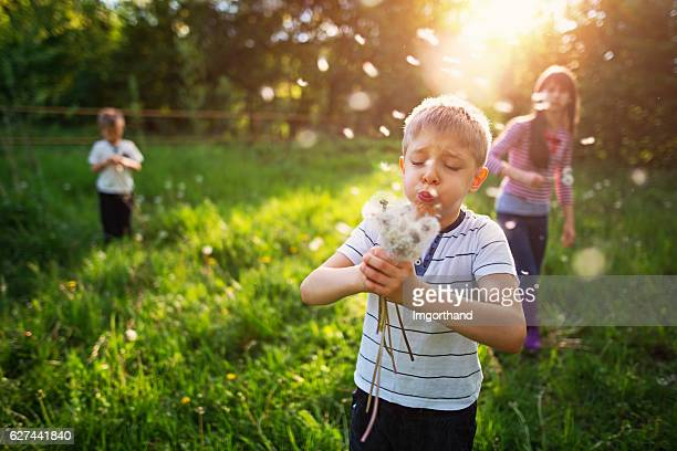 Kids enjoying spring in dandelion field