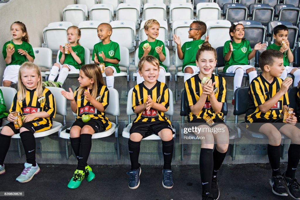 Kids fans of BK Hacken and of Jonkopings Sodra before the Allsvenskan match between BK Hacken and Jonkopings Sodra IF at Bravida Arena on August 27, 2017 in Gothenburg, Sweden.
