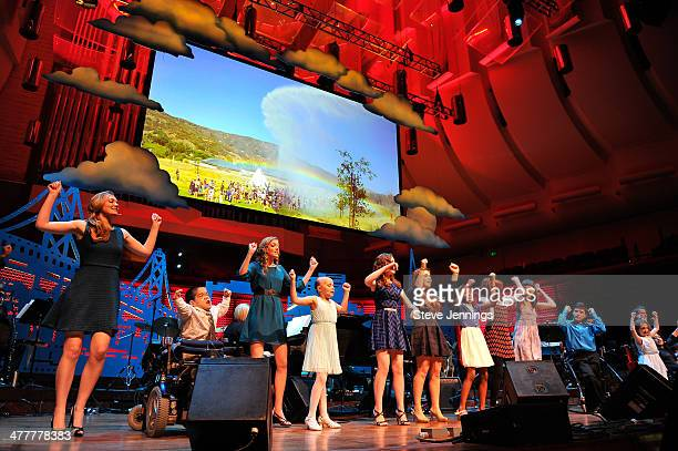 Kids from The Painted Turtle dance on stage at the UCSF Medical Center and The Painted Turtle Present A Starry Evening of Music Comedy Surprises at...