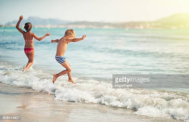 Kids having fun in sea