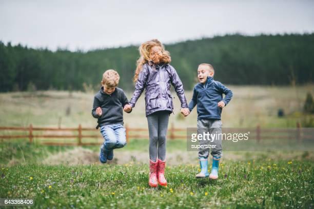Kids having fun in the village.