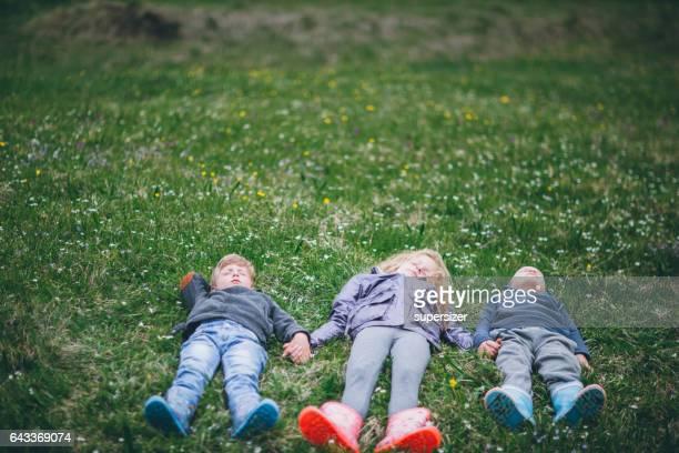 Kids having fun in the village