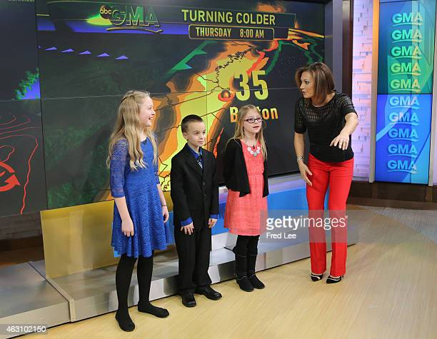 AMERICA Kids help Ginger Zee with the weather report on 'Good Morning America' 2/5/15 airing on the ABC Television Network