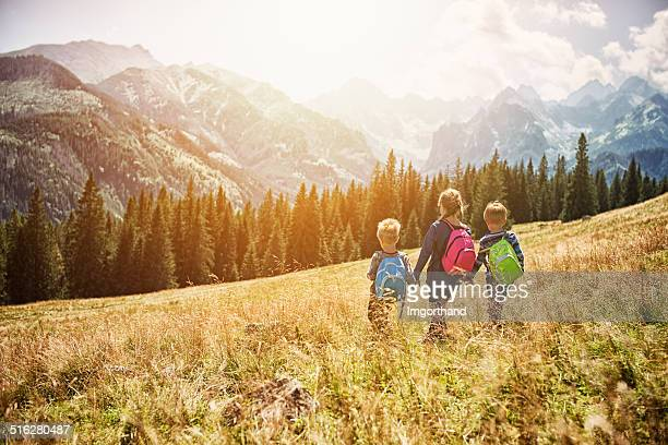 Kids hiking in the mountains