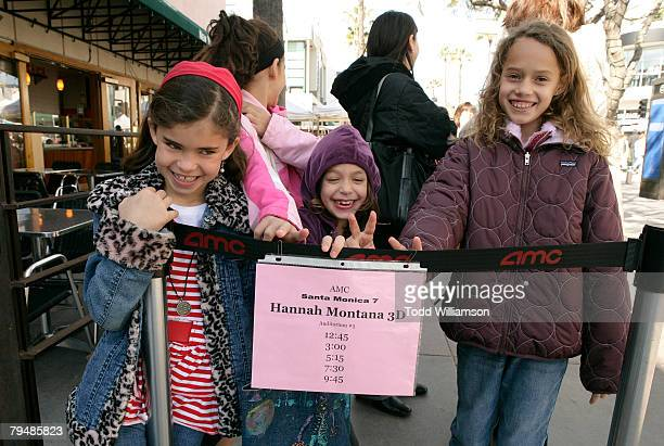 Kids in line of theater with RealD 3D glasses to watch Hannah Montana 3D February 2 2008 in Santa Monica California