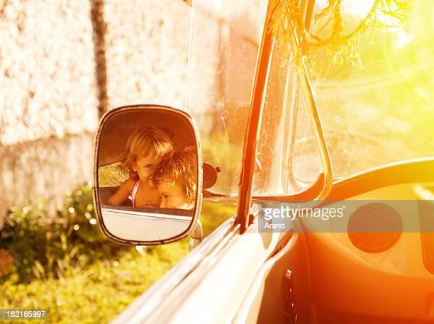 kids in retro car