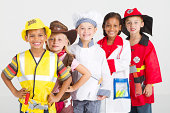 happy group of kids dressing in work wear uniforms