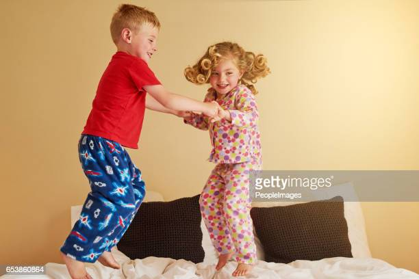 Kids know that beds were really made for jumping on