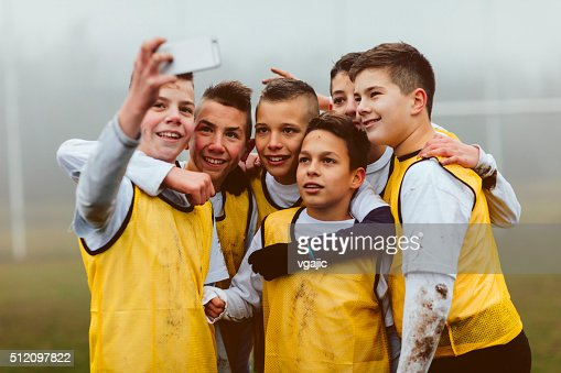 Kids Making Selfie After Playing Soccer.