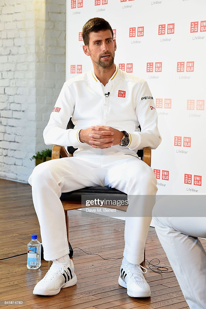 Kids meet and greet with Novak Djokovic at The Uniqlo WearHouse London 311 Oxford Street on June 20 2016 in London England