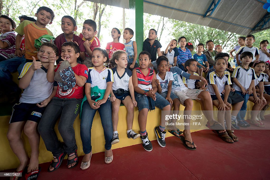 Kids of FIFA 11 for Health Program pose for photo during the 2014 FIFA World Cup Host City Tour on April 23, 2014 in Cuiaba, Brazil