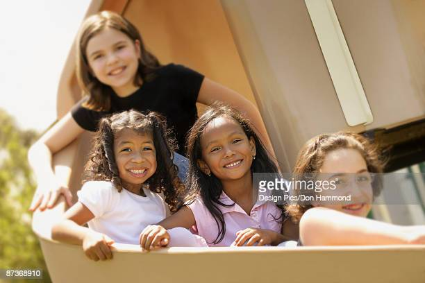 Kids on a slide