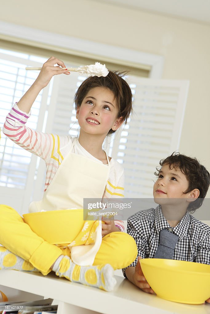Kids on the kitchen : Stock Photo