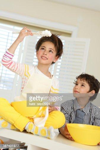 Kids on the kitchen : Stock Photo