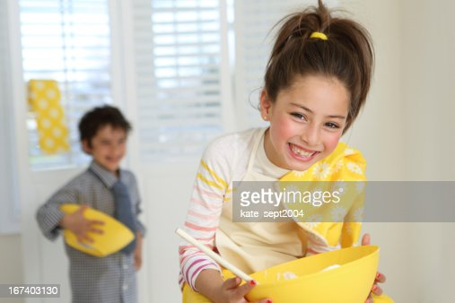Kids on the kithen : Stock Photo