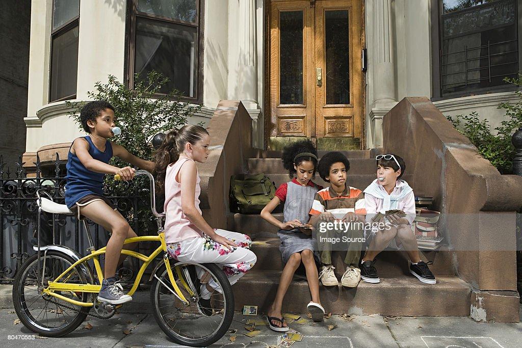 Kids outside house