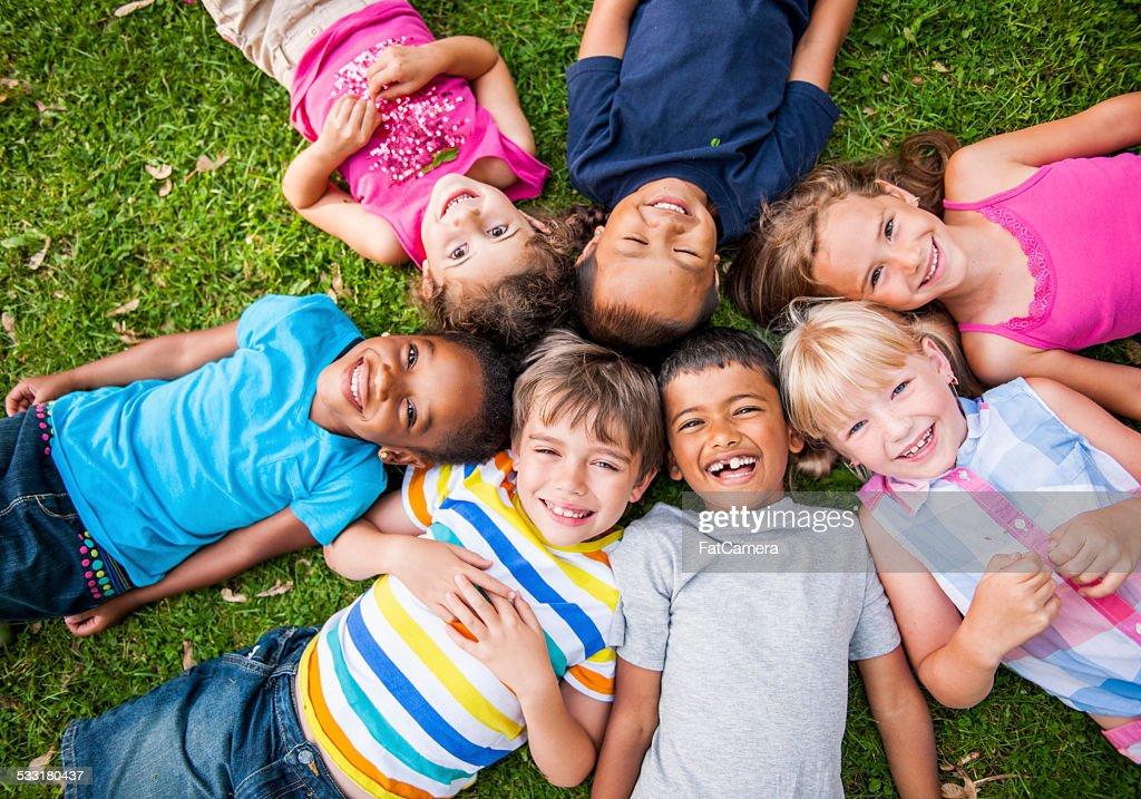 Kids outside : Stock Photo