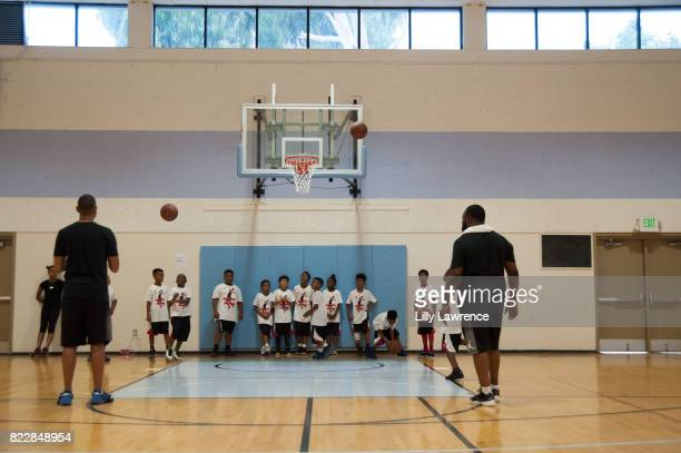 Kids play basketball at Russell Westbrook 5th Annual Why Not Foundation Basketball Camp at Jesse Owens Community Regional Park on July 25 2017 in Los...