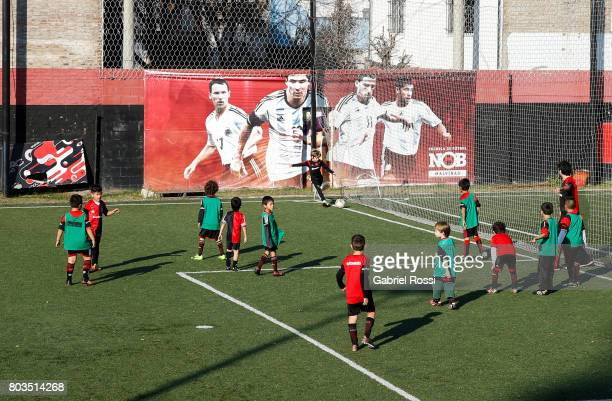 Kids play football at Newell's Old Boys' Malvinas Sports Complex for Junior Divisions ahead of Lionel Messi and Antonela Rocuzzo's Wedding on June 29...