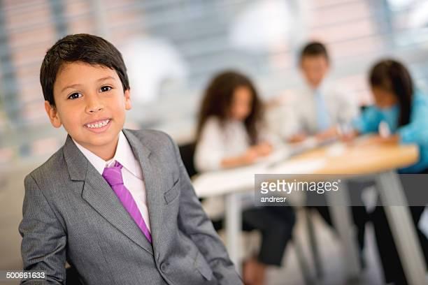 Kids playing business men