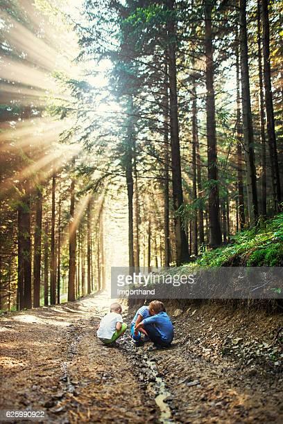 Kinder spielen in einem kleinen Bach auf Waldweg