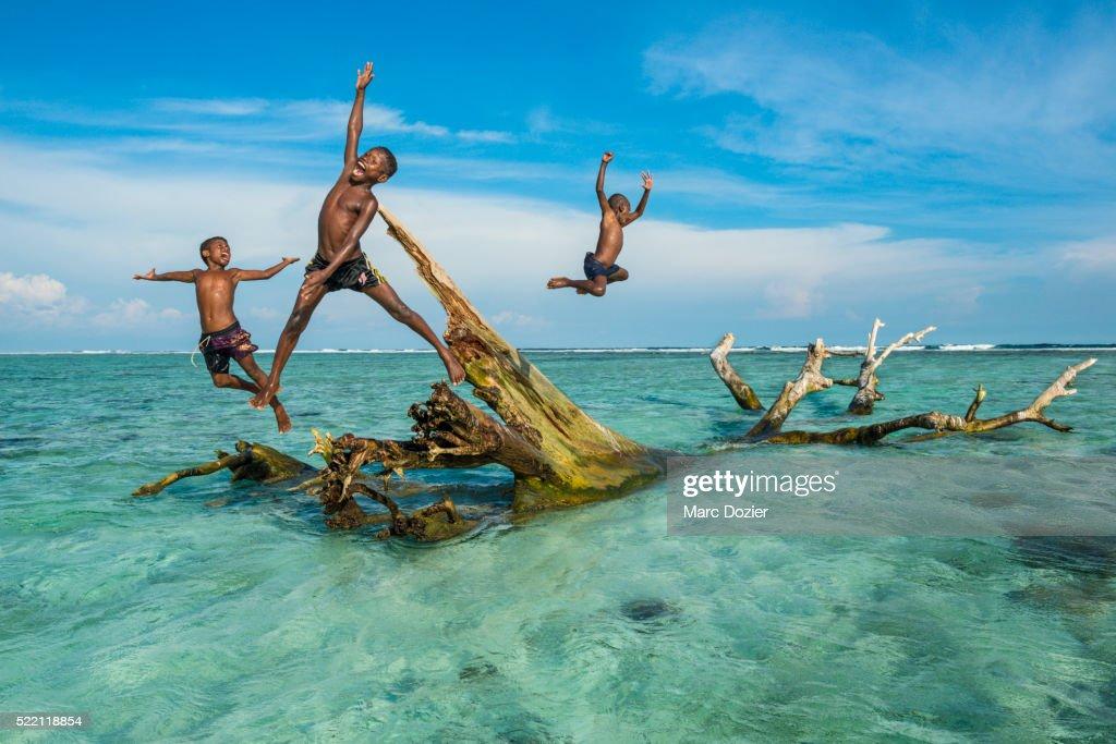 Kids playing in Bismarck Sea