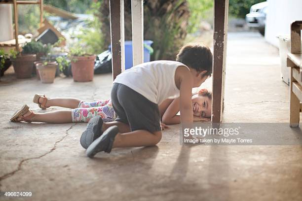 Kids playing in the floor