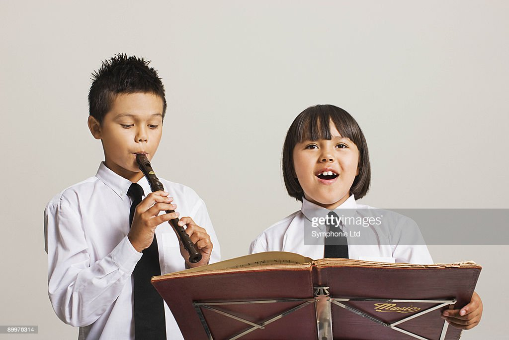 kids playing musical instruments : Stock Photo