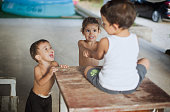 Kids playing on table